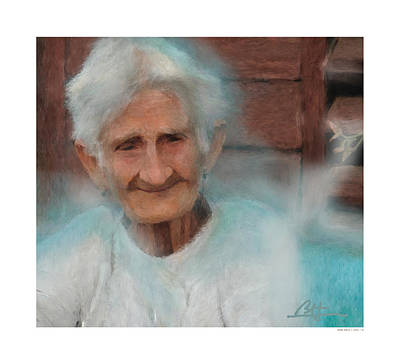 Art Print featuring the painting Portrait Of A Cuban Granny by Bob Salo