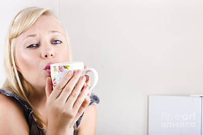 Portrait Of A Female Drinking Coffee In Kitchen Art Print by Jorgo Photography - Wall Art Gallery