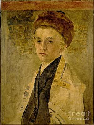 Menorah Painting - Portrait Of A Jewish Boy by Celestial Images