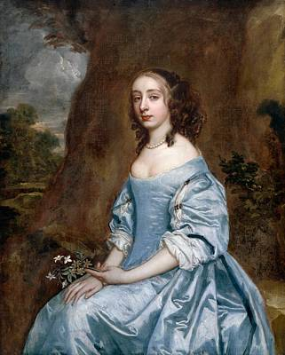 Holding A Flower Painting - Portrait Of A Lady In Blue Holding A Flower by Peter Lely