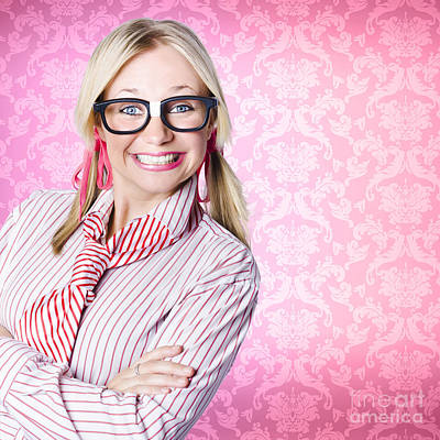 Portrait Of A Nerd Businesswoman With Funny Smile Art Print by Jorgo Photography - Wall Art Gallery