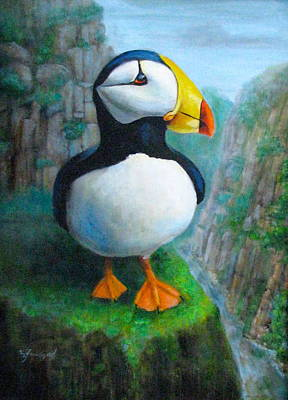 Painting - Portrait Of A Puffin by Oz Freedgood