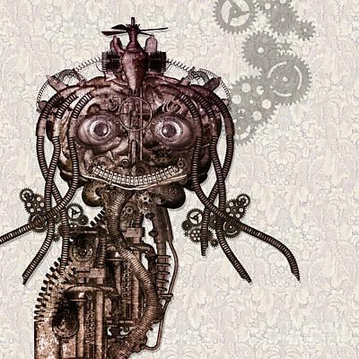 Human Brain Mixed Media - Portrait Of An Antique Cyborg Girl by Diuno Ashlee