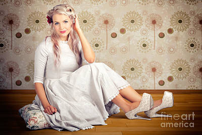 Portrait Of Blonde Girl With Classic Fashion Style Art Print