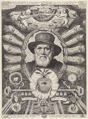 Portrait Of Dirck Volckertsz Coornhert In Allegorical Frame Art Print