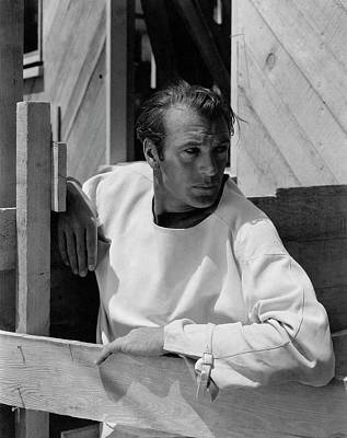 Leaning Photograph - Portrait Of Gary Cooper by George Hoyningen-Huene