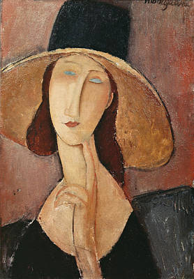 Hebuterne Painting - Portrait Of Jeanne Hebuterne In A Large Hat by Celestial Images