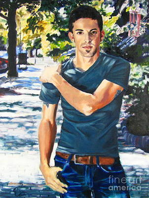 Painting - Portrait Of Musician Kyle Jones by Janet Poirier