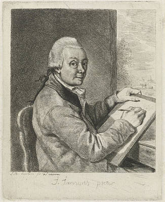 Self-portrait Drawing - Portrait Of The Artist John Janson, Characteristic by Louis Bernard Coclers