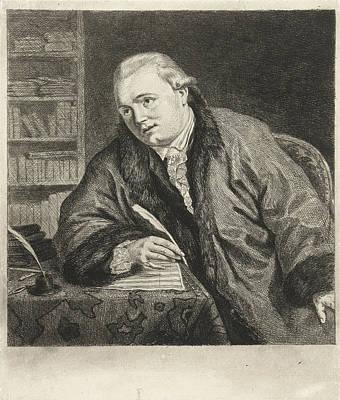 Self-portrait Drawing - Portrait Of The Composer And Etcher Johan Antoni Kauclitz by Louis Bernard Coclers