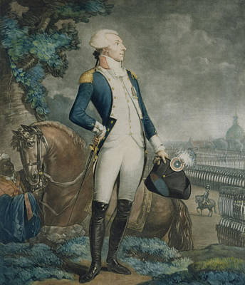Black Stand Painting - Portrait Of The Marquis De La Fayette by Philibert-Louis Debucourt