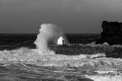 Photograph - Portreath Harbour Breakwater Close Up by Brian Roscorla