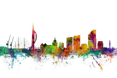 United Kingdom Digital Art - Portsmouth England Skyline by Michael Tompsett