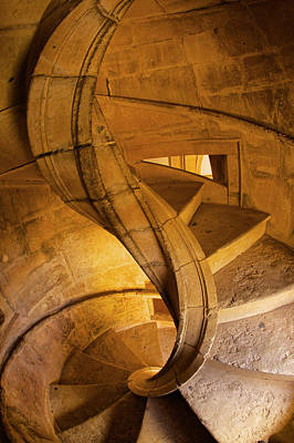 Historic Site Photograph - Portugal, Tomar, Spiral Stone Staircase by Terry Eggers