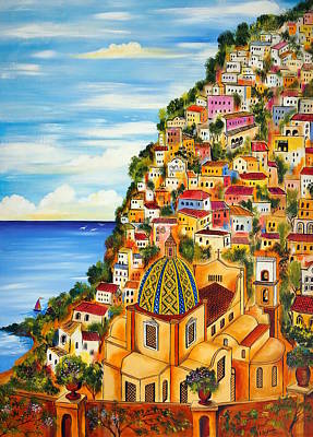 Village Church Painting - Positano by Roberto Gagliardi