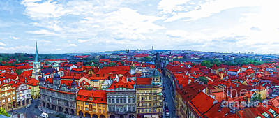 Prague Drawings Mixed Media - Prague - Panorame by Justyna JBJart