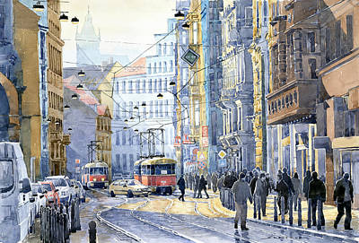 Prague Vodickova Str  Art Print by Yuriy  Shevchuk