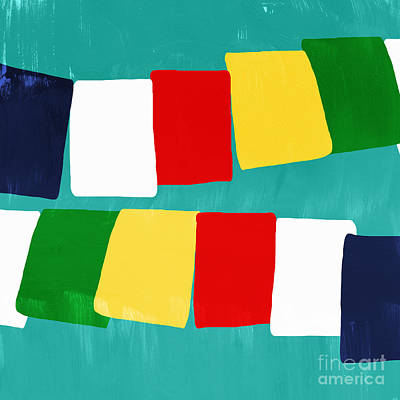 Color Block Mixed Media - Prayer Flags by Linda Woods