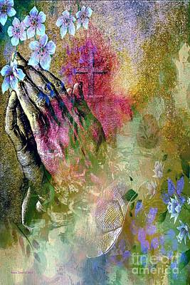 Praying Hands Flowers And Cross Art Print by Annie Zeno