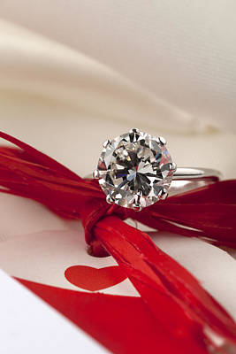 White Gold Engagement Ring Photograph - Precious Diamond Ring by Stefania Levi