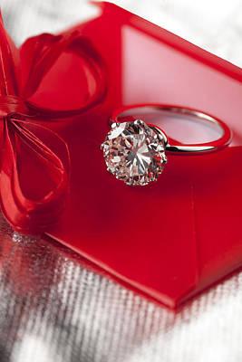 White Gold Engagement Ring Photograph - Precious Diamond by Stefania Levi