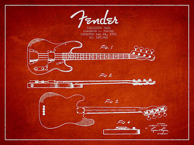 Acoustic Guitar Digital Art - Precision Bass Patent Drawing From 1953 by Aged Pixel