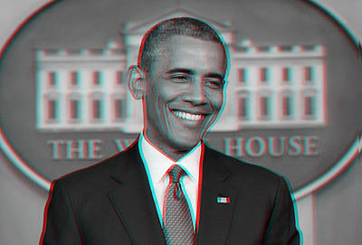 Politicians Paintings - President Barack Obama in 3D by Celestial Images