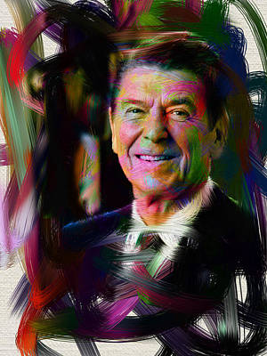 Politicians Digital Art - President Ronald Reagan by Official White House Photograph
