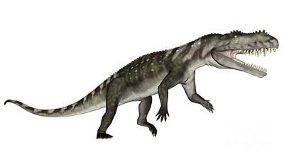 Triassic Digital Art - Prestosuchus Dinosaur Roaring by Elena Duvernay