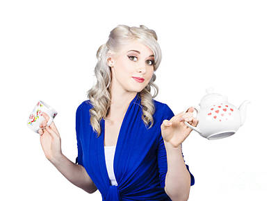 Pretty Blonde Girl Holding A Kettle And A Cup Art Print