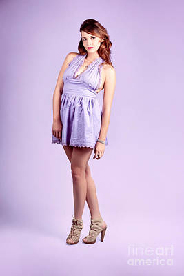 Pretty Brunette Pin Up Woman In Purple Dress Print by Jorgo Photography - Wall Art Gallery