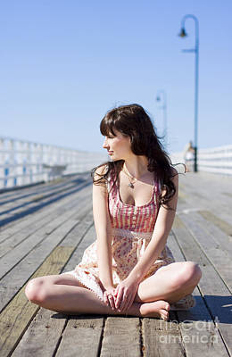 Contemplate Photograph - Pretty Pier Woman by Jorgo Photography - Wall Art Gallery