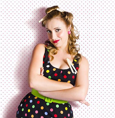 60s Photograph - Pretty Retro Cleaning Lady On Polka Dot Background by Jorgo Photography - Wall Art Gallery