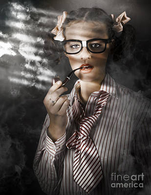 Private Eye Detective Smoking At Crime Scene Art Print