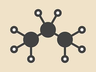Propane Photograph - Propane Hydrocarbon Molecule by Molekuul