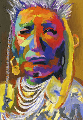 Landmarks Painting Royalty Free Images - Proud Native American II Royalty-Free Image by Stephen Anderson