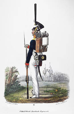 Infantryman Painting - Prussian Soldier, 1830 by Granger
