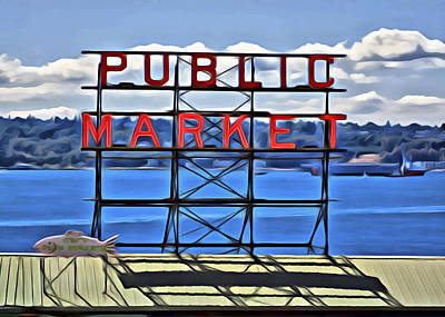 Digital Art - Public Market by Patrick M Lynch