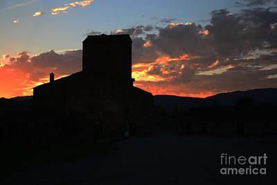 Puesta De Sol En El Castillo De Ainsa Art Print
