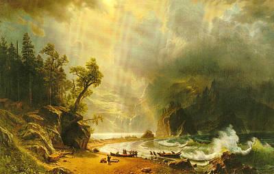 Puget Sound On The Pacific Coast Art Print by Albert Bierstadt