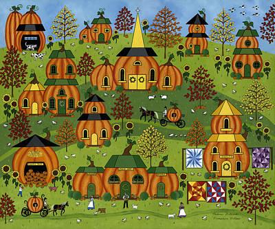 Quilts Painting - Pumpkin Hollow by Medana Gabbard