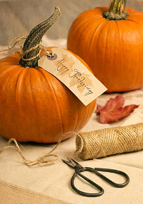 Table Setting Photograph - Pumpkins For Thanksgiving by Amanda Elwell