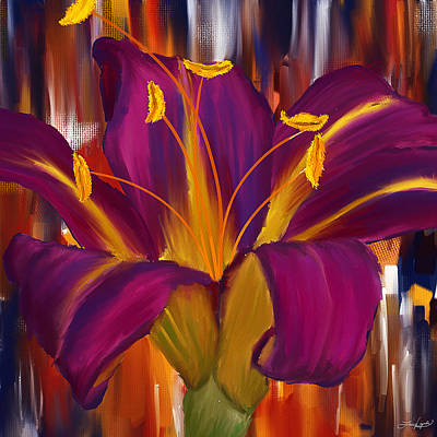 Lilies Royalty-Free and Rights-Managed Images - Purple Blast by Lourry Legarde