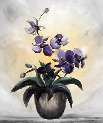 Painting - Purple Orchids 2 by Gina De Gorna