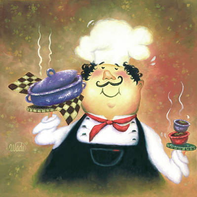 Italian Kitchen Painting - Purple Pot Chef by Vickie Wade