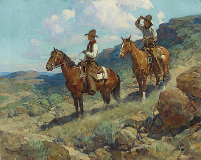 Texas Cowboys Art Print by Frank Tenney Johnson