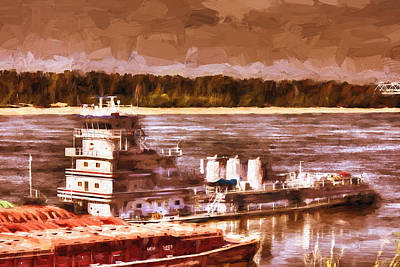 Painting - Riverboat - Mississippi River - Push That Barge by Barry Jones