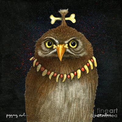 Pygmy Owl Wall Art - Painting - Pygmy Owl... by Will Bullas