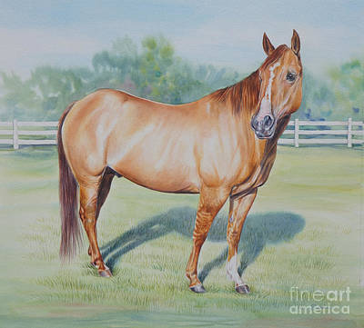 Chestnut Dun Horse Painting - Quarter Horse by Gail Dolphin