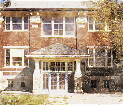 Brick Schools Digital Art - Queen St. School by The Art of Marsha Charlebois